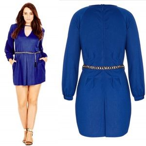 City Chic Blue Romper-NWT Size Small/16